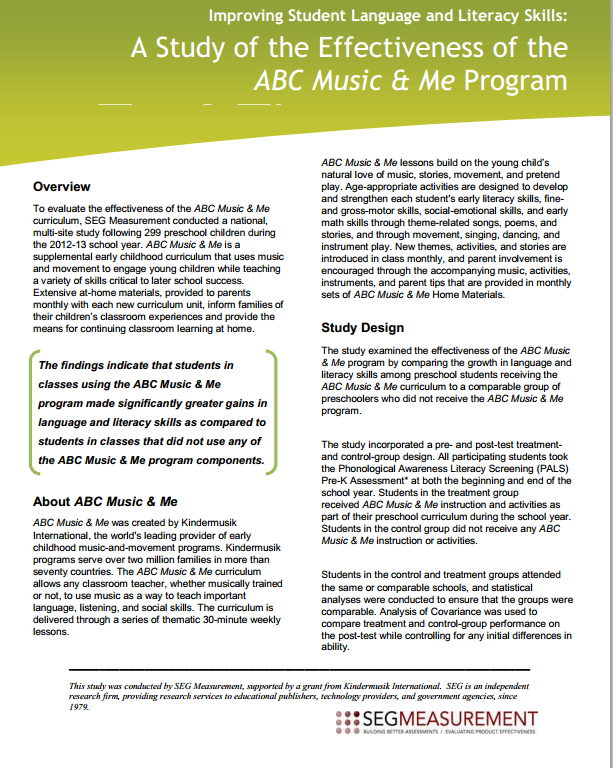 FasTrack Music, ABC Music and Me Research
